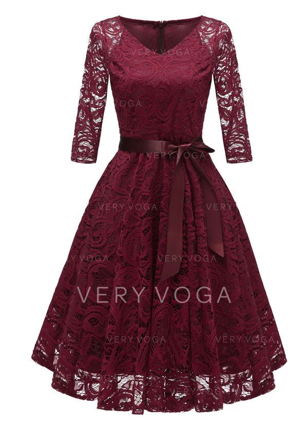 Blonder/Solid Trekvart ermer A-linje Knelengde Vintage stil/Fest/Elegant Kjoler