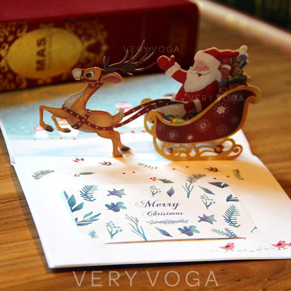 Santa Christmas 3D With Envelope Card Paper Greeting Cards Postcards Invitations