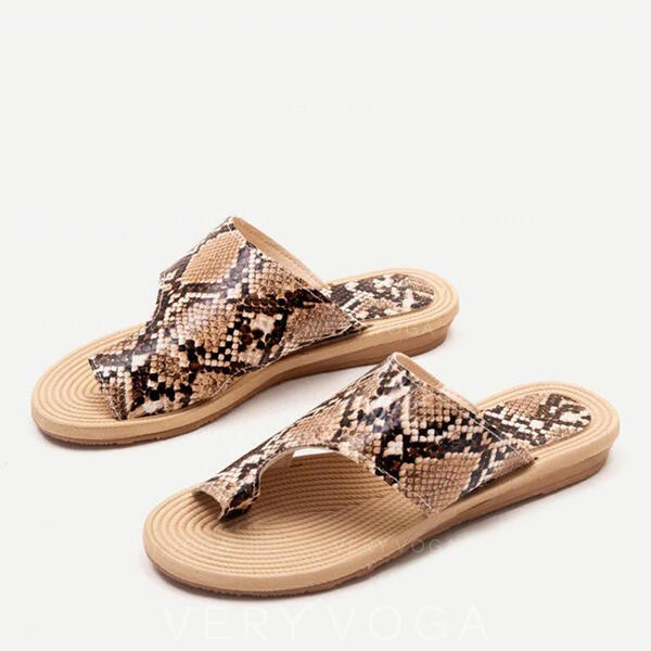 Women's Leatherette Flat Heel Sandals Peep Toe Slippers With Animal Print shoes