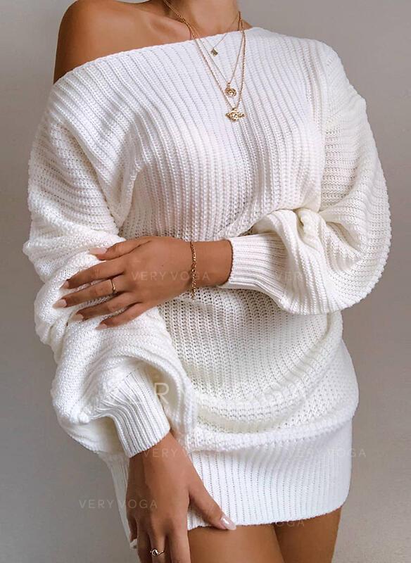 Düz / Tek (Renk) Egy váll Günlük Kazak elbise