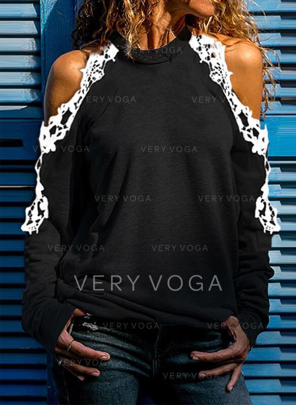 Jednobarevný Krajka Odhalená Ramena Dlouhé rukávy Neformální Bluze