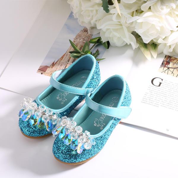 5e977dbda1689 similicuir Glitter mousseux talon plat bout rond Bout fermé Chaussures  plates Chaussures de fille de fleur
