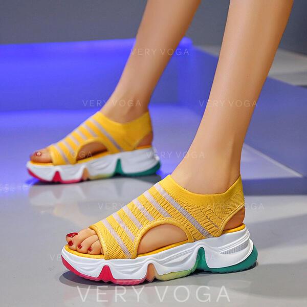 Mulheres Tecido Sem salto Sandálias Peep toe com Oca-out sapatos