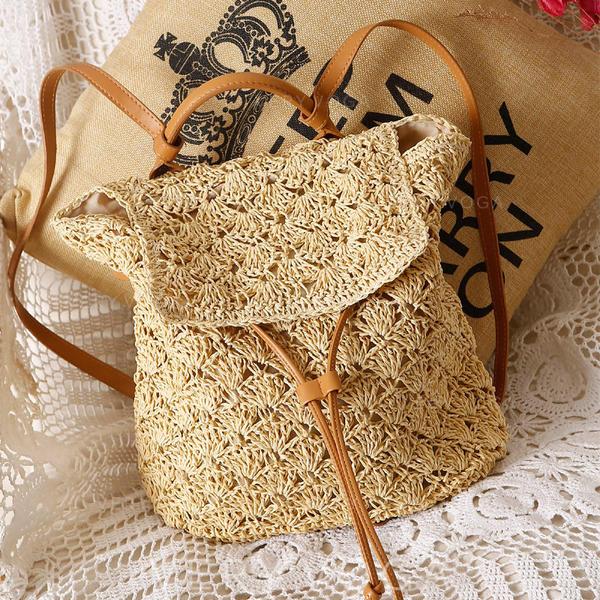 Braided Paper Rope Backpacks/Beach Bags