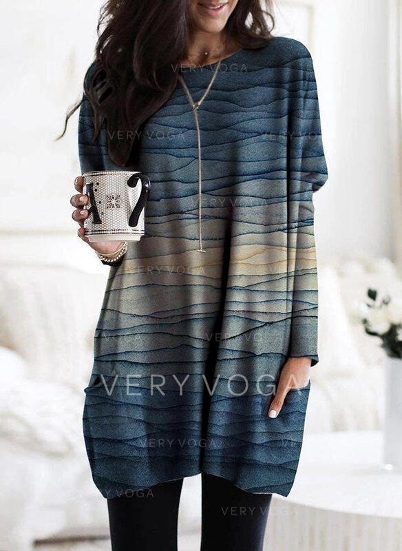 Print Pockets Round Neck Long Sleeves Sweatshirt
