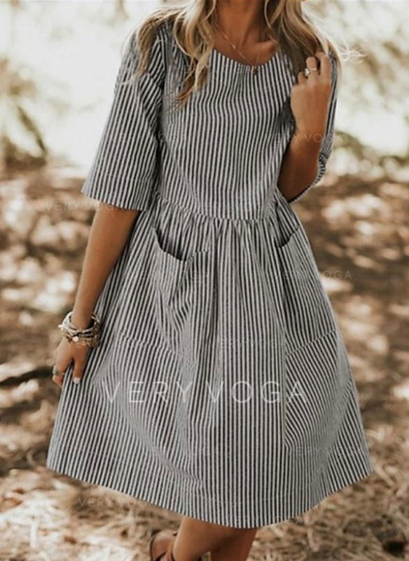 Striped 1/2 Sleeves Shift Casual Midi Dresses
