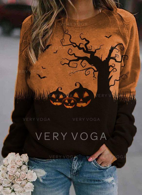 Print Halloween rund hals Lange ærmer Sweatshirts