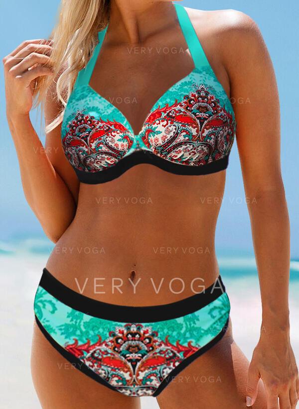 High Waist Print Push Up Halter Plus Size Boho Bikinis Swimsuits