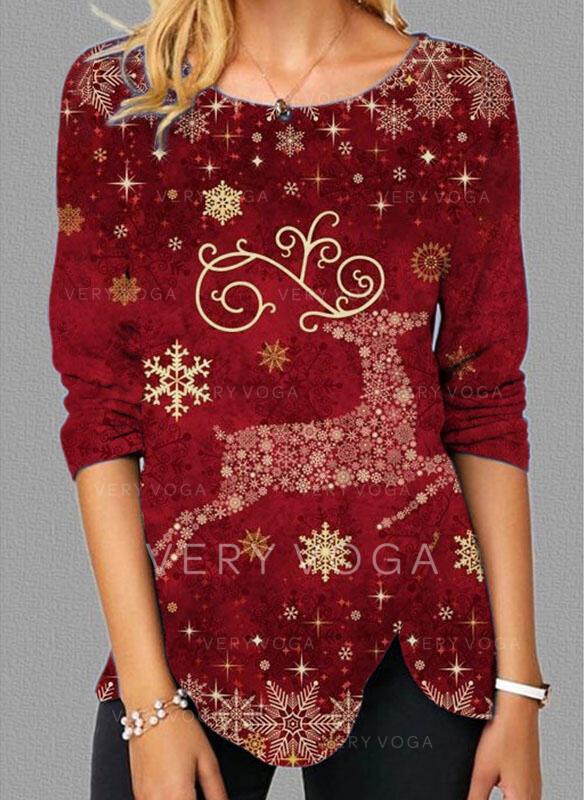Boże Narodzenie Renifer Okrągły dekolt Długie rękawy T-shirty