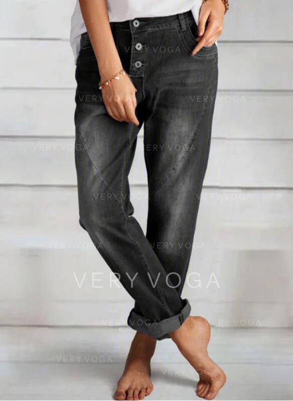 Shirred Long Elegant Plain Denim & Jeans