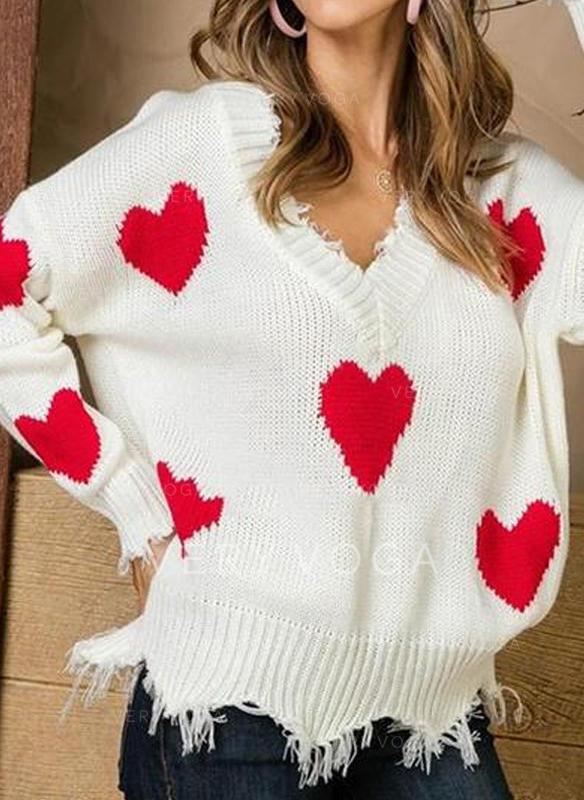Femmes Polyester Inmprimé Pulls Tricot à Câble Gros tricot Chandail de Noël moche