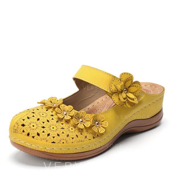 Mulheres Couro PU Salto robusto Sandálias Chinelos com Fivela Oca-out Flor sapatos