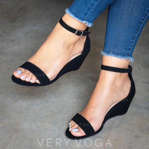 PU Keil Absatz Sandalen mit Schnalle Schuhe