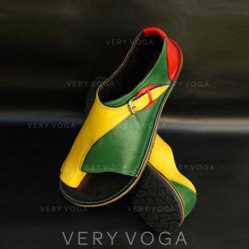 Női PU Lapos sarok Szandál Lakások Peep Toe -Val Split Joint cipő