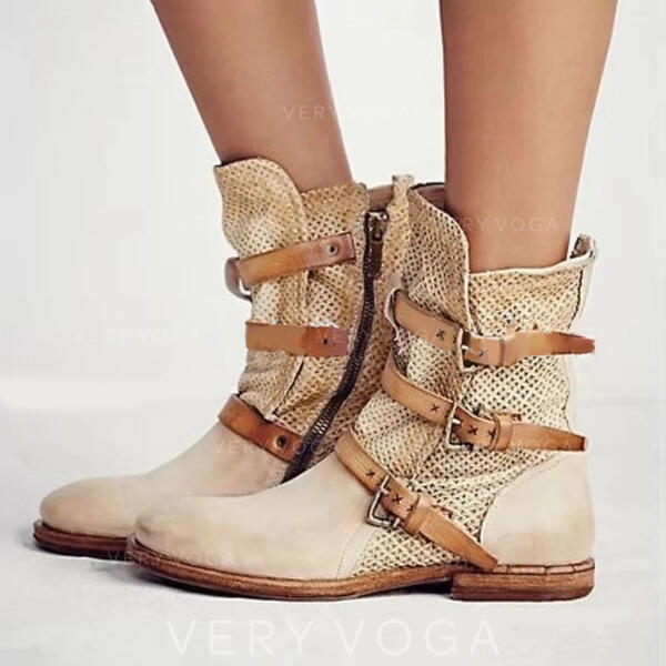 Bayanlar PU Düz topuk Flats Kapalı Toe bot ayakkabı Orta Buzağı Çizmeleri Ile Toka ayakkabı