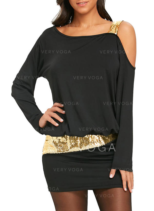 7a0b4ea683 Cekiny Jednolita Długie rękawy Bodycon Nad kolana Mała czarna Seksowna Przyjęcie  Sukienki