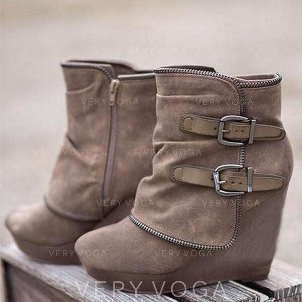 Pentru Femei Piele de Căprioară Platforme Înalte Cizme cu Fermoar pantofi