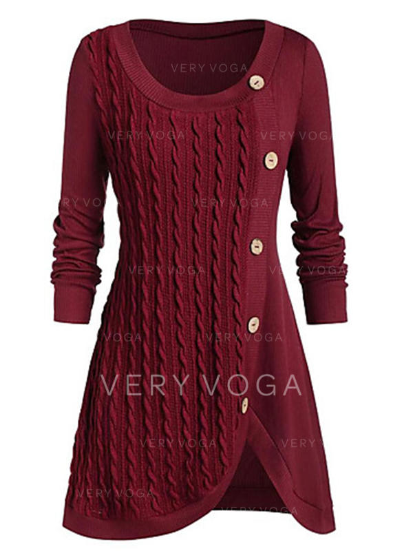 Solid/Chunky knit/Cable-knit Long Sleeves Sheath Knee Length Little Black/Casual/Elegant/Long Dresses