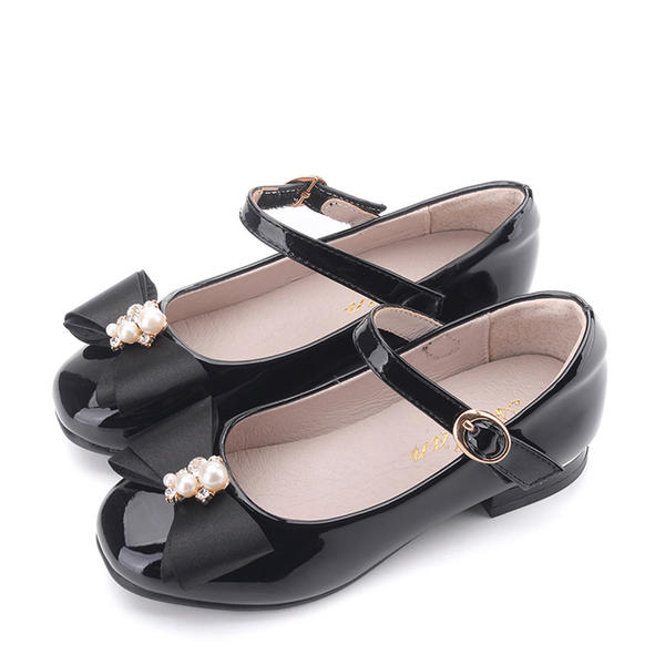 12280b1be6cb0 Girl s Patent Leather Flat Heel Closed Toe Flats Flower Girl Shoes With  Bowknot Velcro