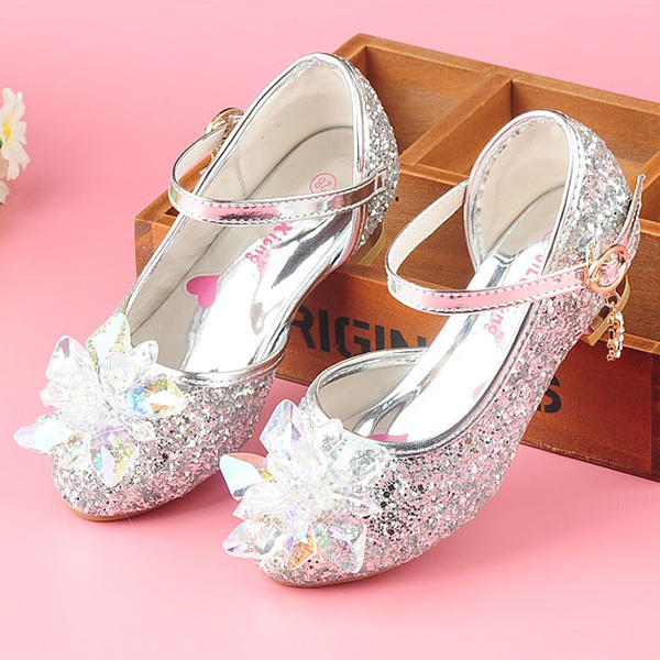 5e48826055f Γοβάκια Κορίτσι λουλουδιών Με Τεχνητό διαμάντι Αφρώδης λάμψη Velcro ...