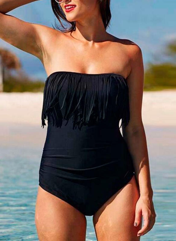 Solid Color Bandeau Strapless Sexy Plus Size One-piece Swimsuits
