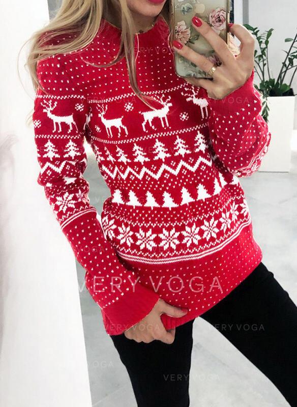 Stampato Animale Girocollo Casual Natale Maglioni