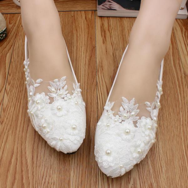 Frauen Kunstleder Flascher Absatz Geschlossene Zehe Flache Schuhe mit Nachahmungen von Perlen Applikationen