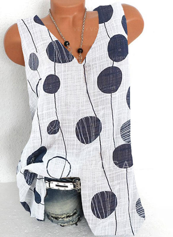 Print V-Neck Sleeveless Casual Tank Tops