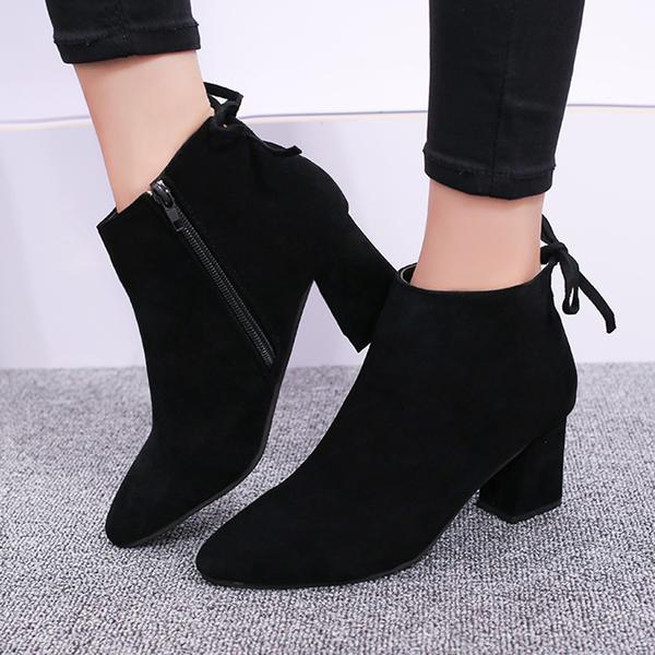 7ffee5841c954 Dla kobiet Zamsz Obcas Slupek Kozaki Botki Z Zamek błyskawiczny Sznurowanie  obuwie