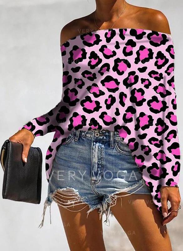 leopard Odhalená ramena Dlouhé rukávy Neformální Bluze