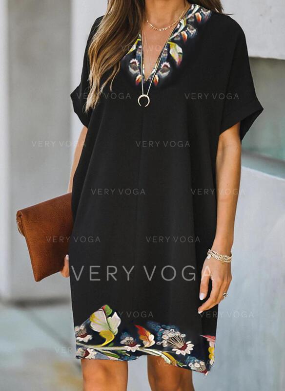 Εκτύπωση/Φλοράλ Κοντά Μανίκια Αμάνικο Μήκος Γόνατος Κομψό Сукні