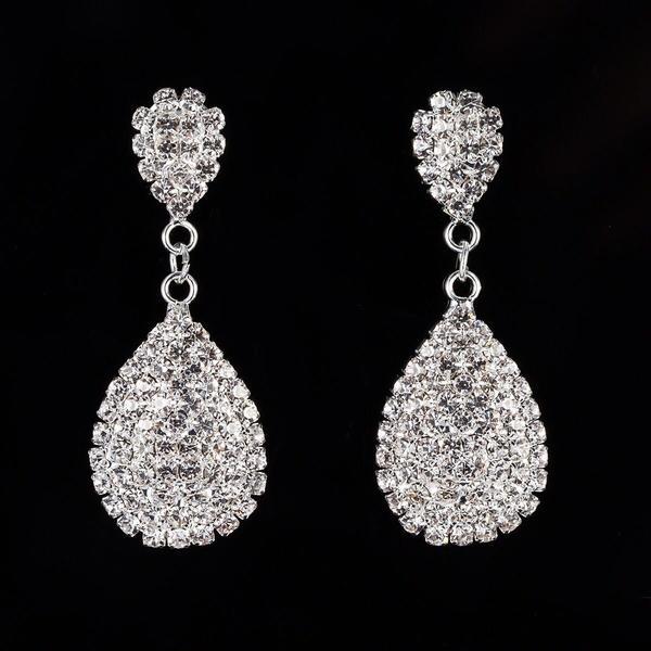 Luminoso Aleación Diamantes de imitación con Rhinestone Señoras' Pendientes de la manera
