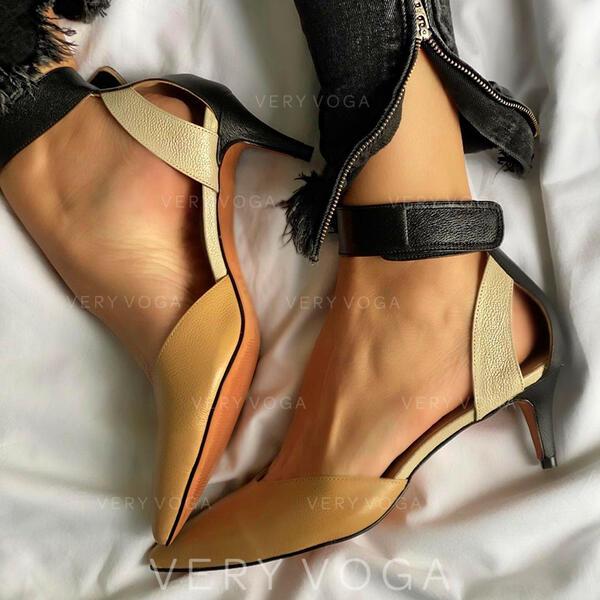 Vrouwen PU Stiletto Heel Sandalen Pumps Closed Toe Puntige teen met Hol-out Las kleur schoenen