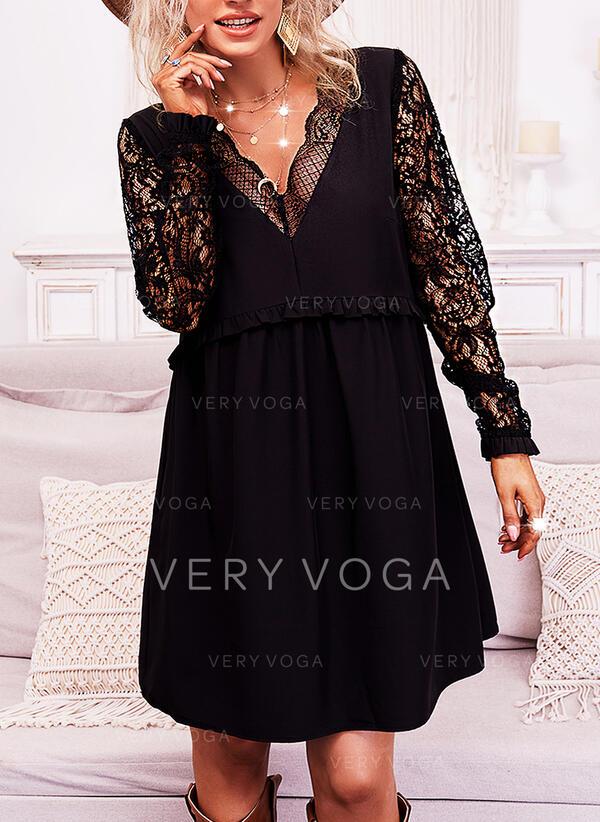 Jednolity Koronka Długie rękawy Suknie shift Nad kolana Mała czarna/Nieformalny Tunika Sukienki