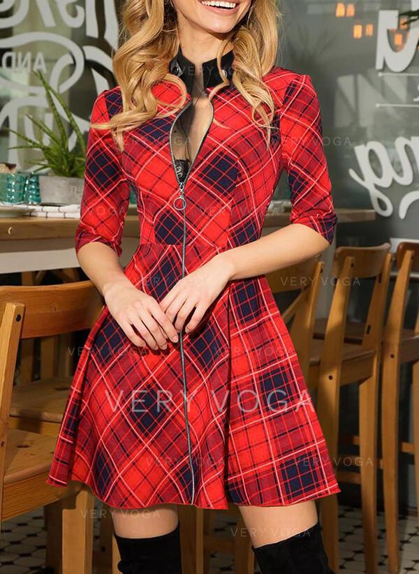 Tela escocesa Manga Larga Acampanado Sobre la Rodilla Elegante Patinador Vestidos