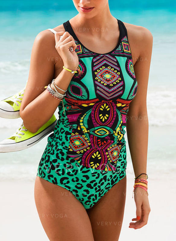 Colorful U Neck Classic Tankinis Swimsuits