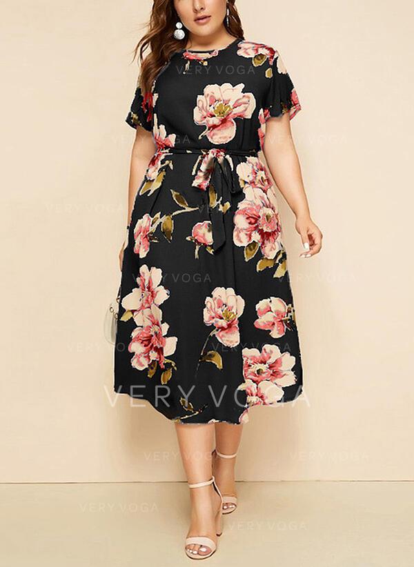 Estampado/Floral Manga Curta Evasê Casual/Elegante/Tamanho positivo Midi Vestidos