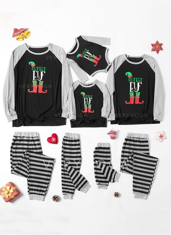 Letter Striped Print Family Matching Christmas Pajamas