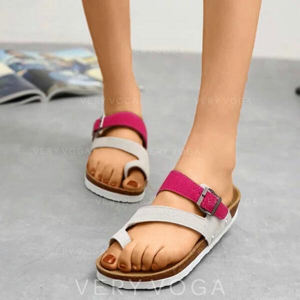 Mulheres Couro Sem salto Peep toe Chinelos com Oca-out sapatos