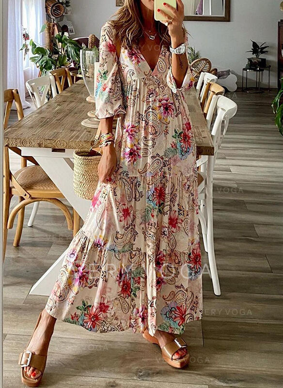 Print/Floral 3/4 Sleeves A-line Skater Casual Maxi Dresses