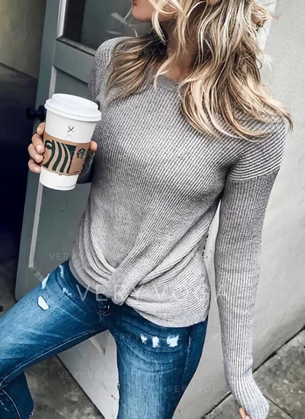Einfarbig Rundhalsausschnitt Lange Ärmel Freizeit Basic Stricken Blusen