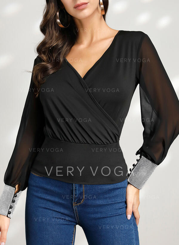 Solid V-Neck Long Sleeves Casual Elegant Blouses