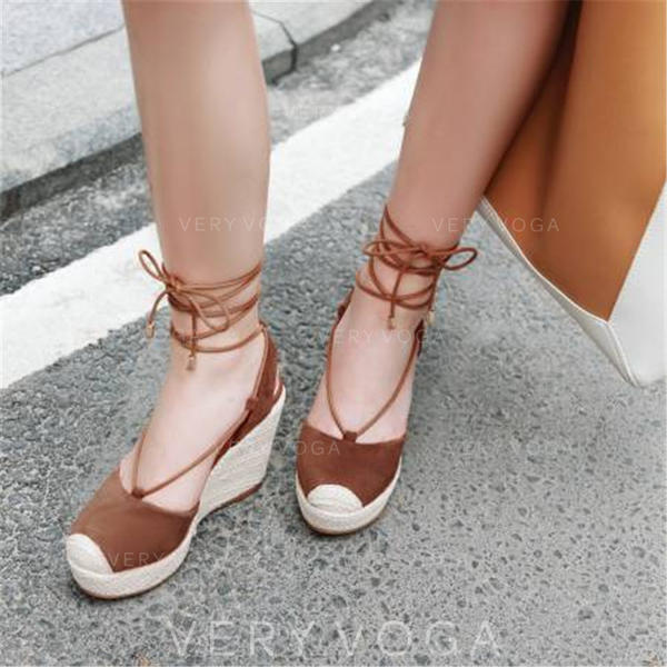 Women's Real Leather Wedge Heel Sandals Platform Closed Toe Wedges With Lace-up shoes