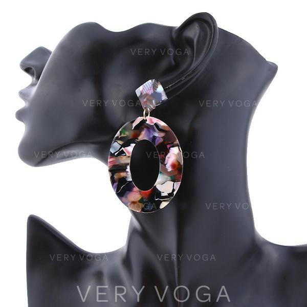 Modisch Legierung Acryl Frauen Art-Ohrringe (Sold in a single piece)