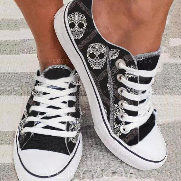 Dla kobiet Płótno Płaski Obcas Plaskie Espadrille Z Sznurowanie obuwie