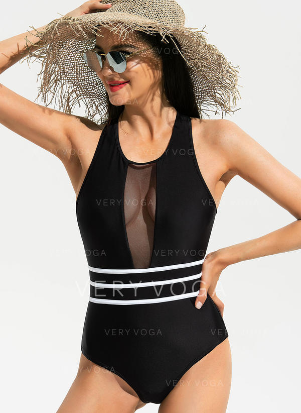 Stripe U Neck Sexy Elegant Beautiful Cute One-piece Swimsuits