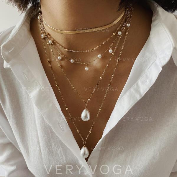 À la mode Refroidir Alliage avec Perle d'imitation Colliers
