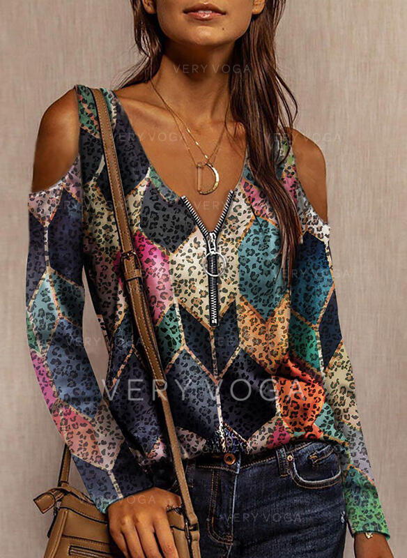 Geometric Print Leopard Cold Shoulder Long Sleeves Casual Blouses
