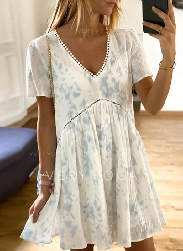 Lace/Tie Dye Short Sleeves Shift Above Knee Casual Dresses