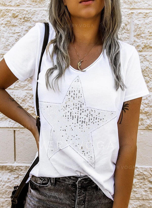 Sequins Round Neck Short Sleeves Casual T-shirts
